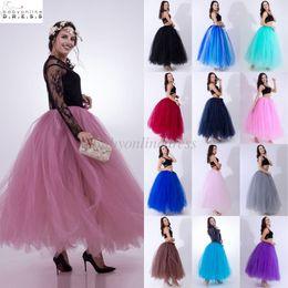 silver dress womens 2019 - High Quality 3 Layers 100cm Summer Long Tulle Skirt Fashion Pleated TUTU Skirts Womens Lolita Petticoat Bridesmaids Dres