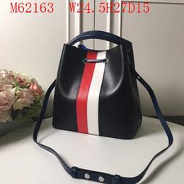 Designer cuir cordon femme vagues classiques de bloc de couleurs couleurs seau sacs 24.5cm large deux qualité unique ceinture d'épaule faible profit en Solde