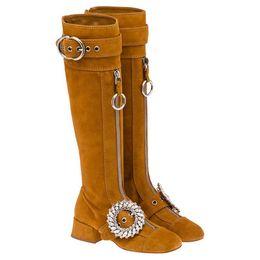 $enCountryForm.capitalKeyWord NZ - Suede Women Boots Glitter Crystal Long Booties Metal Belt Buckle Design Women Shoes Double Zipper Women Winter Boots Med Heel