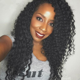 baby curly unprocessed lace wig NZ - Kinky Curly Human Hair Wig For Black Woman Unprocessed Afro Kinky Curly Lace Front Wig Glueless Full Lace Wig With Baby Hair