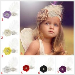 Ostrich Feathers Hair Accessories NZ - Girl big Ostrich hair Chiffon Pearl flower Lace Headband baby Accessories on feathers Injun Role play Hairband Infant Photo Prop 19 color