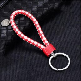 Discount small handmade gifts - 2018 PU key chain handmade twist twist wovenkeychain for men's and women's small gift bag pendant