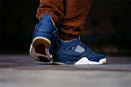 best service e787e f7f8d Levis x Air Jordan 4 NIKE Basketball shoes 2018 Nouveau 4 4 s Denim LS  Jeans Travis Hommes Bleu Jeans Chérie chaussures de sport de haute qualité  avec ...
