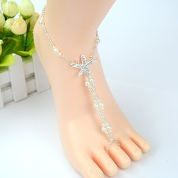 anklet beaded Canada - 2018 Sexy Ladies Starfish Anklet Boho Pearl Foot Jewelry Anklet Beaded Chain Barefoot Sandal Wedding Jewelry Support FBA Drop Shipping H177F