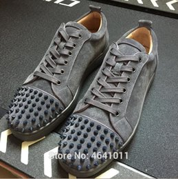 High-Cut Leisure shoes cl andgz Lace-Up Gray leather suede Rivets Front  Whole Red bottom For man shoe sneakers Flat Loafers 2018 9f179b5c3e20