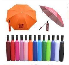 Ingrosso Nuovo design di novità Ombrello pioggia trasparente personalizzato! Super carino e compatto 3 volte pieghevole moda bottiglia di vino Umbrella.5pcs