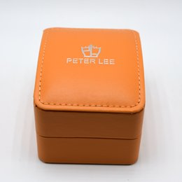 Discount lees fashion - Free Shipping PETER LEE Brand Fashion Luxury Orange Leather Watch Box With Pillow Package Case Watch Jewelry Storage Gif