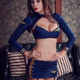 $enCountryForm.capitalKeyWord NZ - Newest 7 Pieces Suit Sexy Stewardess Uniform Costume Unique T-shirt + Minidress+Lingerie+Garters For Exotic Sex Cosplay Uniform Y18102205