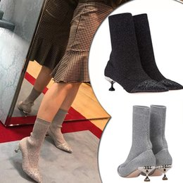 1568187a0c98a Cat Style Shoes Canada - 2019 Runway Style Ankle Sequins Glitter Boots 6cm  Crystal Cat Heel