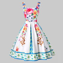 $enCountryForm.capitalKeyWord UK - Kenancy Vintage Square Neck Floral Pin Up Dress Oil Paint Print Romantic French Party Feminino Vestidos Summer White Swing Dress