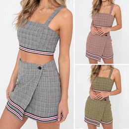 7383106cd35 Autumn 2019 Plus Size shirt 2Pcs Sexy Womens Striped Plaid Crop Top + Mini  A-Line Skirt Suit Women Clothing Fashion Sexy Tops