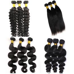 Discount bundled virgin chinese hair - Virgin Human Hair Weaves Brazilian Hair Bundles 34inch Weft 100% Unprocessed Peruvian Indian Mongolian Human Hair Extens