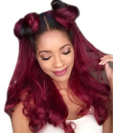 two tone wavy lace wigs 2019 - Ombre 1b 99J# Color Brazilian Human Hair Full Lace Wig Body Wavy Two Tone Lace Front Wig Glueless Wigs cheap two tone wa