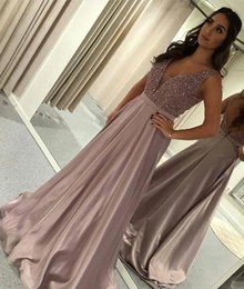 Wholesale 2018 Deep V Neck Long Prom Dress Satin Beaded Formal Holidays Wear Graduation Evening Party Gown Custom Made Plus Size
