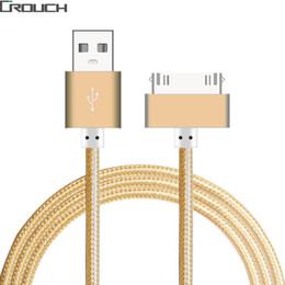 e0644d3f277 Cable USB Cargador rápido para iphone 4 4s iPad 2 3 Metal Nylon trenzado 4  30 Pin Adaptador de carga Cable Sincronización de datos de carga para Apple