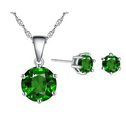 $enCountryForm.capitalKeyWord Australia - 2018 Hot Sale Green Color Fashion Jewelry Sets for Women Gift Round Cubic Zircon Copper Necklace&Earrings Jewelry Sets Wholesale