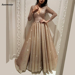 long evening peplum dresses back drape 2018 - 2019 New Arrival Muslim Arabic V Neck A-line Evening Dresses Custom Made With Sequined Sashes Robe De Soiree Long Prom d