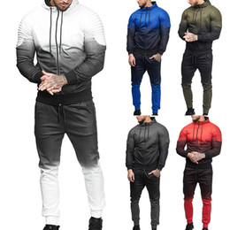 men fashion red suit Canada - 2018 Red Casual Men fitness Set Fashion 3D Print Pleated Sweatshirt Pants Track Suit Autumn Plus Size Jacket Coat Trousers suit