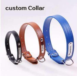 dog collars names NZ - Free Engraving Metal Buckle Name Puppy Personalized Pet Name Phone ID Collar Custom Leather Little Dog Cat ID Collars