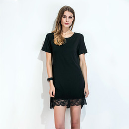 12ecbbf287eb6 Women Lace Hem T-Shirt Dress O Neck Short Sleeve Summer Dress Scalloped  Straight Casual Mini Shift Dress Black Vestiti Donna