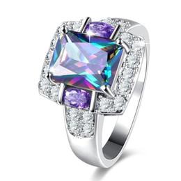 $enCountryForm.capitalKeyWord Australia - Pretty Women Valentines Day Gift Princess Cut Rainbow Topaz & Amethyst Gemstone 925 Silver Ring Size 5-12