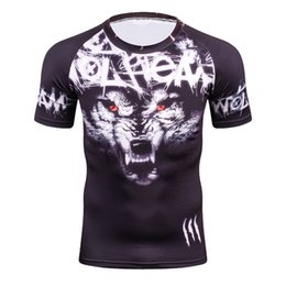 Xs mma shorts online shopping - Cool Men s D Tshirts Wolf Printing Short Sleeve Boys Compression Tight Skin Shirt MMA Fitness Base Layer Weight Lifting T Shirt