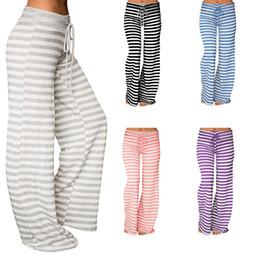 a021bd17d Cintura alta pantalones anchos de pierna Mujer Pantalones de chándal a rayas  Salón Palazzo Pantalones Pantalon a rayas sueltos Mujer Femme Pantalones  largos ...