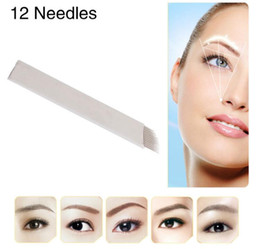 Blades manual tattoo makeup online shopping - 12 Flex Microblading Needles Permenent Makeup Pins Tattoo Needle Lamina Agulhas Tebori Blade for Manual Eyebrow Pen