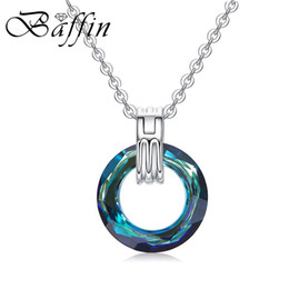swarovski stone plate Australia - wholesale Colorful Circle Fancy Stone Pendant Necklaces Crystals From Swarovski For Women Silver Color Chain Trendy Jewelry