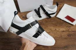 Belt Buckles for shoes online shopping - Designer shoes with adjustable calfskin belt and buckle fastening brand shoe stud detailing sneaker for men women size35