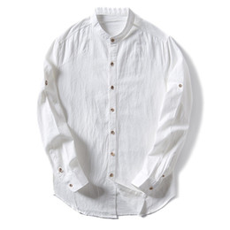 c702d036916 New Cotton Linen Shirts Man Solid Stand Collar Casual Shirts Long Sleeve  Business Dress Male Fashion Clothes Tops TS-300