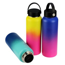 double wall stainless water bottles UK - Ombre 40oz Double Wall Vacuum Insulated Stainless Steel Leak Proof Sports Water Bottle Wide Mouth with BPA Free Flex Cap
