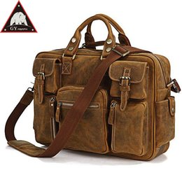 Discount 16 inches laptop - ANAPH Genuine Leather Briefcases Men, Classic Messenger Bags Attache 16 Inch Laptop Case, Crazy Horse Business Travel Ba