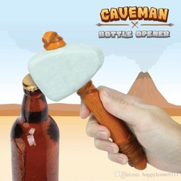 can bottle Australia - 1pcs New Hammer Shaped Beer Beverage Opener The Stone Age Caveman Bottle Opener With Leather Strap Can Jar Beer Juice Opener