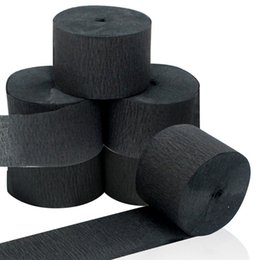 wholesale 6 rolls Black Streamers Roll Black Crepe Paper Streamers for Various Birthday Party Wedding Festival Party Decorations on Sale