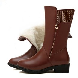 60919a1f584 Hot selling 2018 Winter Rivets Cow Leather Boots Women Shoes Wedges Inside  Plush or Wool Snow Boots Plus Size Middle Tube Boot Women Boots