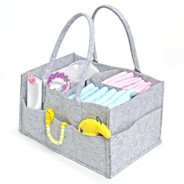 gray tote bags Australia - Baby diaper caddy gray nursery diapers tote bin multifunction storage bag large portable car travel organizer felt basket bag