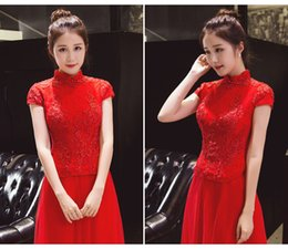 Sets Velvet NZ - Vintage High Neck Qipao Red Embroidery Phenix Lace Qipao Set Cheongsam Chinese Traditional Dress Custom Made Prom Dress D14