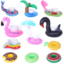 Discount inflatable cartoon toys - Lovely Cartoon doughnut unicorn Seat Inflatable toys Summer children water Fun Pool Toy swan flamingo Kids Swimming toy