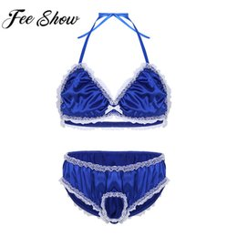 Wholesale Feeshow Mens Lace Lingerie Set Satin Sissy Bralette Halter Bra Top with Gay Open Penis Briefs Underwear Gay Lingerie Set