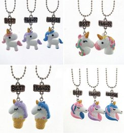$enCountryForm.capitalKeyWord Canada - Unicorn Necklace Best Friends Forever Pendant Necklaces Kids BFF Jewelry Resin Colored 3D Unicorn Necklaces Chain Plated White Gold