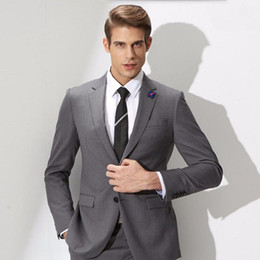 grey tuxedos NZ - Wool Blend Grey Men Suits Formal Business Suit Groom Wedding Suits Tuxedos Groomsmen Wear Prom Clothing 2 Pieces Best Man Blazers Ternos