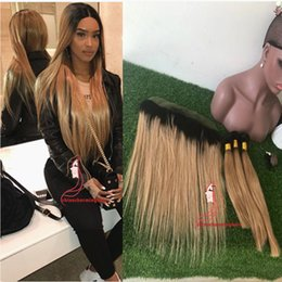 1b Straight Hair Australia - Honey Blonde Ombre Hair With Lace Frontal 1b 27 Brown Blonde straight Lace Frontal With Bundles silky straight Human Hair Weaves