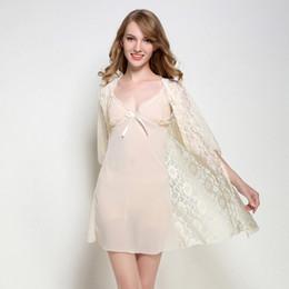 Sexy Hollow Lace Nightgown Robe Sets Women 2 Pcs Silk Satin Transparent  Lingerie Night Dress Skirt Wear Female Pajama Nightdress 959252db2
