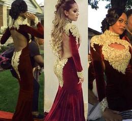 $enCountryForm.capitalKeyWord Canada - High Neck Long Sleeve Mermaid Prom Dresses 2018 Velvet Gold Applique Backless Burgundy Gorgeous Arabic Dubai Occasion Formal Evening Gowns