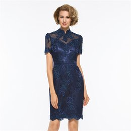 24w Plus Size Dresses For Wedding UK - wangyandress Plus Size 2018 Mother Of The Bride Dresses Sheath Navy Lace Appliques Wedding Party Dress Short Mother Dress For Wedding