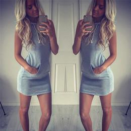 $enCountryForm.capitalKeyWord NZ - 2019 Summer Fashion Women Slim sleeveless Pocket Bodycon Short Dress Ladies Hoodies Top Mini Casual Dress Vestidos Plus Size