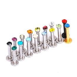 $enCountryForm.capitalKeyWord NZ - Punk Crystal Lip Ring Trendy Stud Surgical Steel Labret Piercings Jewelry Silver Ear Stud Earring Nose Ring Body Piercing Jewelry 16 pcs lo
