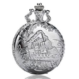 Sale Watches UK - Hot Sale 100pcs lot Retro Train Pocket Watch Big Size Quatz Fob Clock Vintage Pendant Children Birthday Gift reloj Wholesale