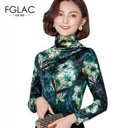 fa49fe61922 FGLAC Women blouse New 2018 Spring long sleeved Turtleneck women tops Gold  velvet print shirt plus size clothing